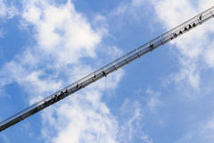 Highline 179步行者吊桥-奥地利 库存图片