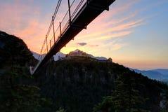 Highline 179 hangend brug en Fort Claudia bij Zonsondergang Royalty-vrije Stock Afbeeldingen