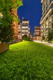 The Highline promenade at twilight in Chelsea. Manhattan, New York City. Highline promenade at twilight with illuminated high-rises in Chelsea. Manhattan, New royalty free stock images