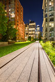 The Highline promenade at twilight in Chelsea. Manhattan, New York City Royalty Free Stock Photography