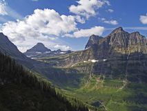 From the Highline Trail Looking South. This image of the Logan Pass area was taken on a recent hike in Glacier National Park Royalty Free Stock Image