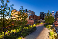 The Highline at twilight, Chelsea, Manhattan, New York City. The Highline High Line Park aerial greenway at twilight in summer. Chelsea, Manhattan, New York City stock images