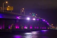 Highlited night bridge. Royalty Free Stock Photo