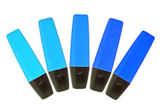 Highliters. Five neon hiliters in shades of blue royalty free stock image