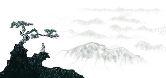 Highly artistic landscape Chinese Ink painting. ,Ascend look far chinese clouds distant earth fairyland forest flying freehand ink landscape stock illustration