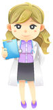 Highly detail illustration cartoon female physician doctor in wh Stock Images