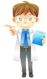 Highly detail illustration cartoon male physician doctor in whit Stock Image
