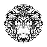 Highly detailed abstract ornate zentagle monkey vector illustration Royalty Free Stock Image