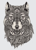 Highly detailed abstract wolf illustration.