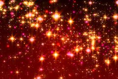 Highly detailed all over texture of an illustration of glittering stars on a red background. royalty free illustration
