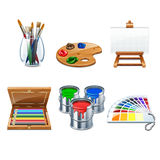 6 highly detailed artists supplies icons Royalty Free Stock Photo