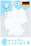 Highly detailed blank outline map of Germany with rivers Stock Images