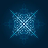 Highly detailed blue snowflake Royalty Free Stock Photography