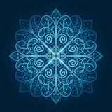 Highly detailed blue snowflake Stock Photography