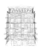 Highly detailed building. Wire-frame render Royalty Free Stock Photo