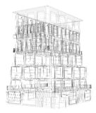Highly detailed building. Wire-frame render Royalty Free Stock Photography