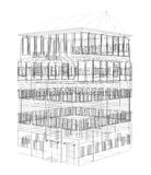 Highly detailed building. Wire-frame render Stock Images