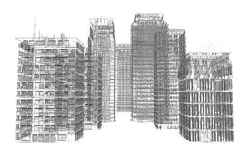 Highly detailed buildings. Wire-frame render Stock Photo
