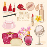 Highly detailed cosmetics icons set. Make Up and Beauty Symbols Royalty Free Stock Photos