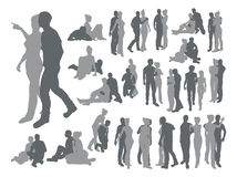 Highly detailed couple silhouettes Royalty Free Stock Image