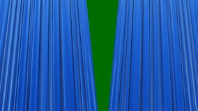 Highly detailed 3d animation of Blue curtain opening and closing with green screen, Perspective view bottom-up.