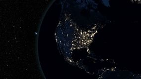 Highly detailed 3d render using satellite imagery. Planet earth North America zone with night time from space stock video footage