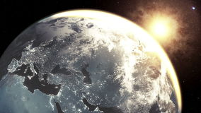 Highly detailed. 3d Render using satellite imagery NASA. Planet earth Europe zone with night time and sunrise stock video footage