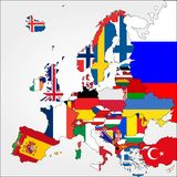 Highly Detailed Europe Map With Country Flags. Royalty Free Stock Images