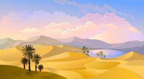 Oasis in the middle of the desert. Palm trees, pond and sands of Arabia vector illustration