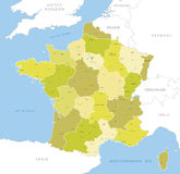 Highly detailed map of Frrench regions, vector. Stock Image