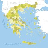 Highly detailed map of Greek regions. Stock Image