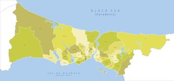 Highly detailed map of Istanbul vector. Highly detailed map of Istanbul, vector EPS 10 Royalty Free Stock Image
