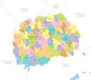Highly detailed map of Macedonia, . Highly detailed map of Macedonia, EPS 10 Stock Photo