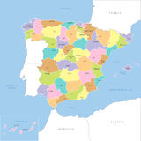 Highly detailed map of Spain, vector. Royalty Free Stock Photo