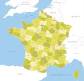 Highly detailed map of French county, vector. Royalty Free Stock Image