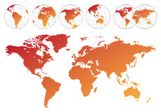 Highly detailed map of the world Royalty Free Stock Images