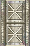 Highly detailed metal door panel. An ornate door panel with intricate designs stock illustration