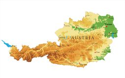 Austria relief map. Highly detailed physical map of Austria,in vector format,with all the relief forms,regions and big cities Royalty Free Stock Image