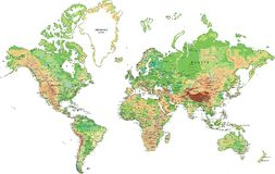 Highly detailed physical map of the World. Stock Images
