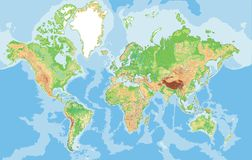 Highly detailed physical map of the World. Royalty Free Stock Photo