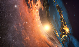 Highly detailed planet earth in the morning, Royalty Free Stock Image