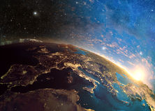 Highly detailed planet earth in the morning,. 3D rendering of detailed colorful Earth Royalty Free Stock Photos