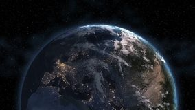 Planet Earth Morning 3D. Elements of this image furnished by NASA.Highly detailed planet Earth. Night with glowing city lights giv stock image