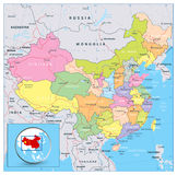 Highly detailed political map of China with roads, railroads and Royalty Free Stock Photos