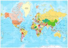 Highly detailed political World map with labeling Royalty Free Stock Image