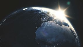Highly detailed realistic epic sunrise over planet Earth 3D animation stock illustration