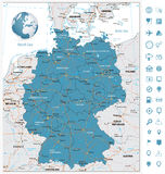 Highly detailed road map of Germany with rivers and navigation. Icons. Vector illustration Stock Images