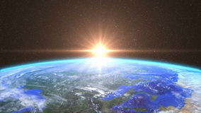 Highly Detailed Sunrise over the Earth stock footage
