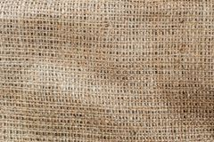 Highly detailed texture of burlap. Sackcloth background with free space for text input, logo, etc stock photography