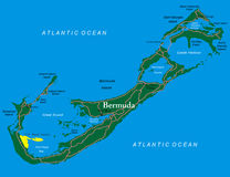 Bermuda map. Highly detailed vector map of Bermuda with administrative regions,main cities and roads Stock Images